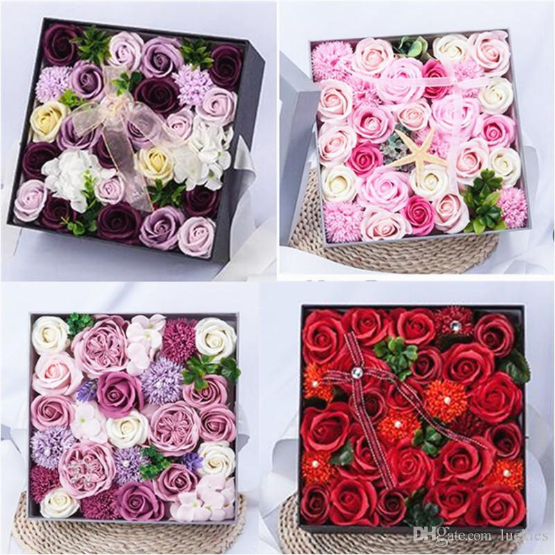 2019 Romantic Valentine Rose Gift Box Unique Soap Flower Artificial Birthday Wedding Party Gifts For Day From