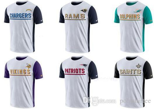 8975521b Men Los Angeles Chargers T shirt Rams Miami Dolphins Vikings Minnesota  Patriots New Orleans Saints White Champ Drive 2.0 Performance T-Shirt