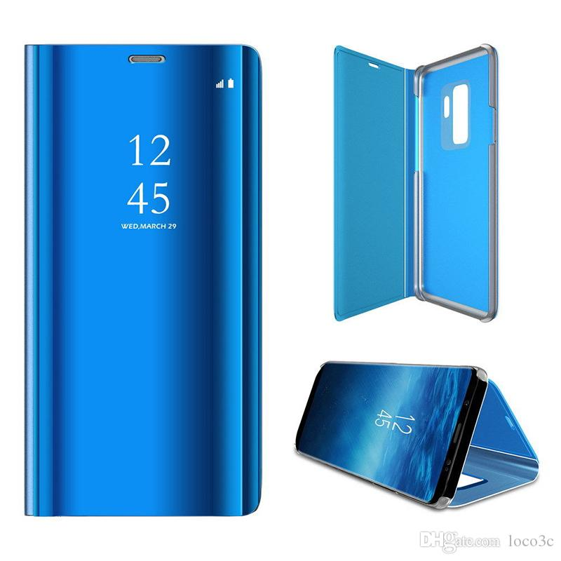 best website 309fb df5d8 Original 1:1 Smart Mirror Flip Leather Case For Samsung Galaxy S10 S8 S9  Edge Plus J6 A6 A8 Clear View Cover For Huawei Case