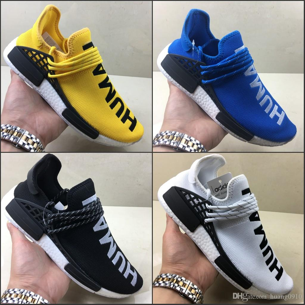 sports shoes f170e 89ae3 2019 Human Race pharrell williams men running shoes Nerd black blue women  mens trainers fashion sports runner sneakers