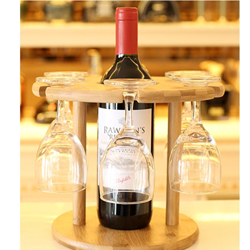 Bamboo frame hanging type finishing cup receptacle red wine cup holder bottle holder Huai rack support rack