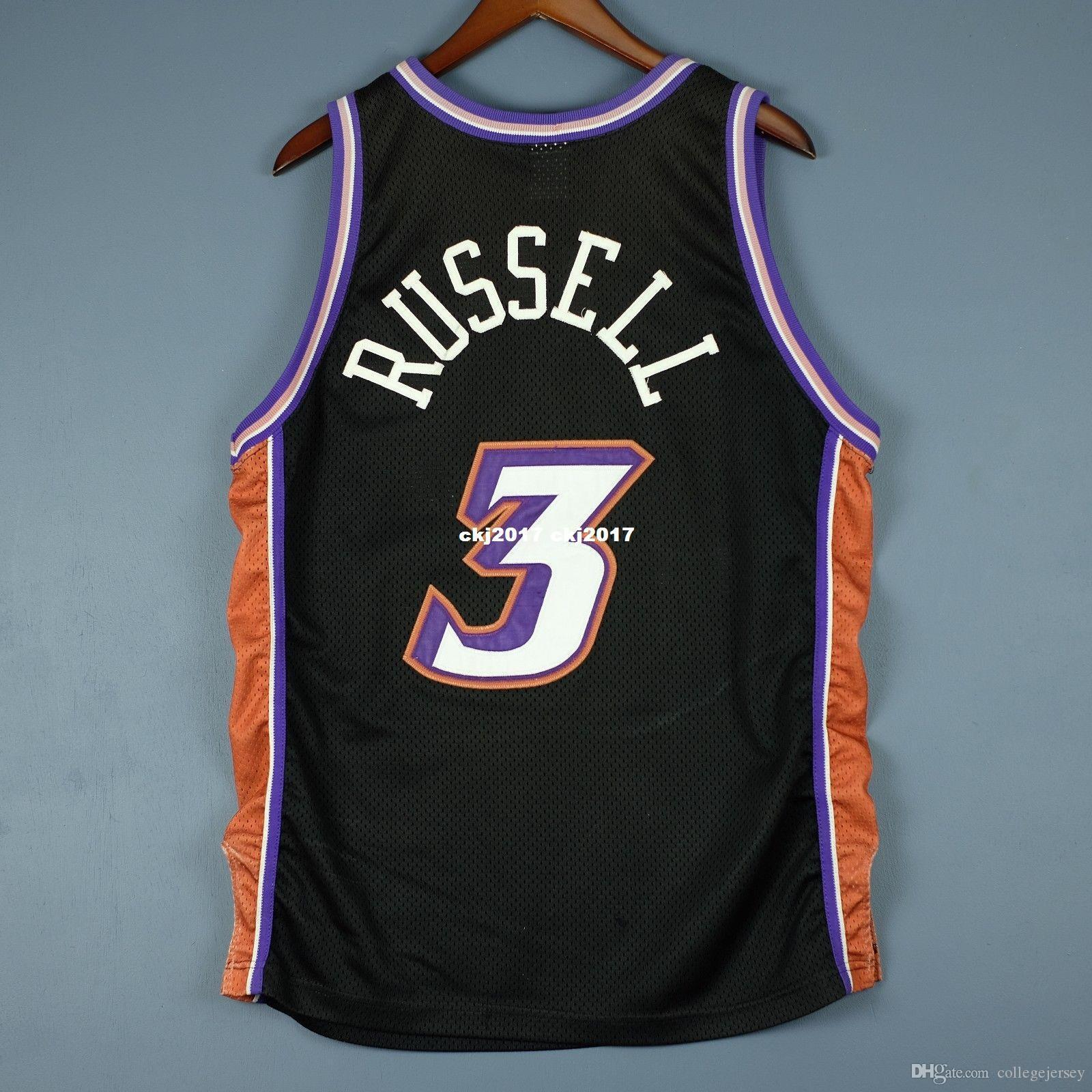 100% cousu # 3 Bryon Russell Champion Cousu Jersey malone stockton gilet taille XS-6XL cousu maillots de basketball Ncaa