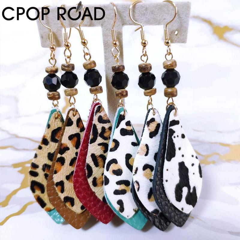 customizable New Cowhide Leather Feather Earrings for Women Wood Beads Leopard Earrings Fashion Jewelry Accessories Hot Sale Girl Gift
