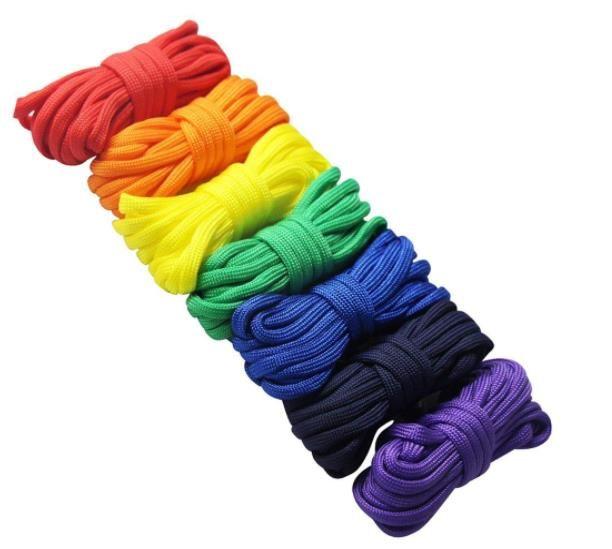 7Pcs/Lot Rainbow Color Paracord Set Survival Rope 7-Strand Core Parachute  Cord Outdoors DIY Braiding Bracelet Kit Keychain Lanyard Craft Toy