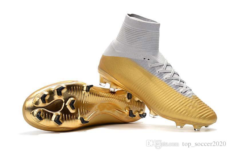 23a87a2e3 2019 Sale Best Quality Gold Soccer Cleats Superfly V TF IC FG Ronaldo CR7 Football  Boots Mens Kids Womens Soccer Shoes Sneakers From Top soccer2020