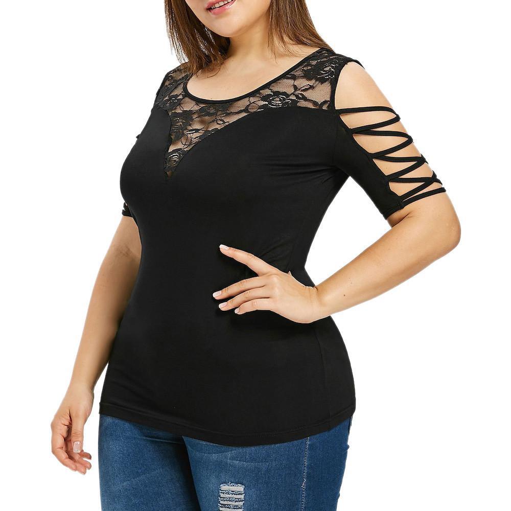 581dcbce6bb46 Compre 5XL Tallas Grandes Blusa 2019 Moda Para Mujer Criss Cross Blusa De  Encaje Camisa Sin Tirantes Con Cuello En O Túnica Tops Blusas Mujer De Moda  A ...
