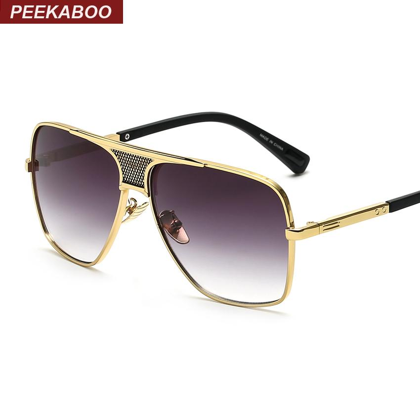 c7a797fd785e 2019 Peekaboo Brand New 2016 Steampunk Square Sunglasses Men Flat Top Metal  Gold European American Retro Sun Glasses Luxury Male C19042001 From Tong06,  ...
