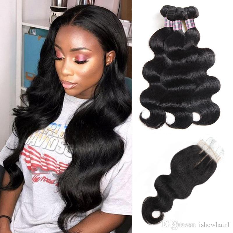 "8-28"" Brazilian Deep Loose Body Wave 3/4Bundles With 4x4 Lace Closure Virgin Hair Extensions Deep Wave Human Hair Bundles with Closure"
