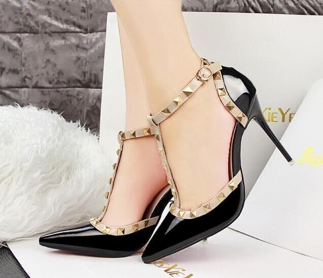389dc6999312 Pumps 2019 Women S Shoes Summer Fashion Female Sandals Rivet Metal  Decoration Pu Leather Style Women High Heels Mens Sandals Mens Trainers  From Deals8