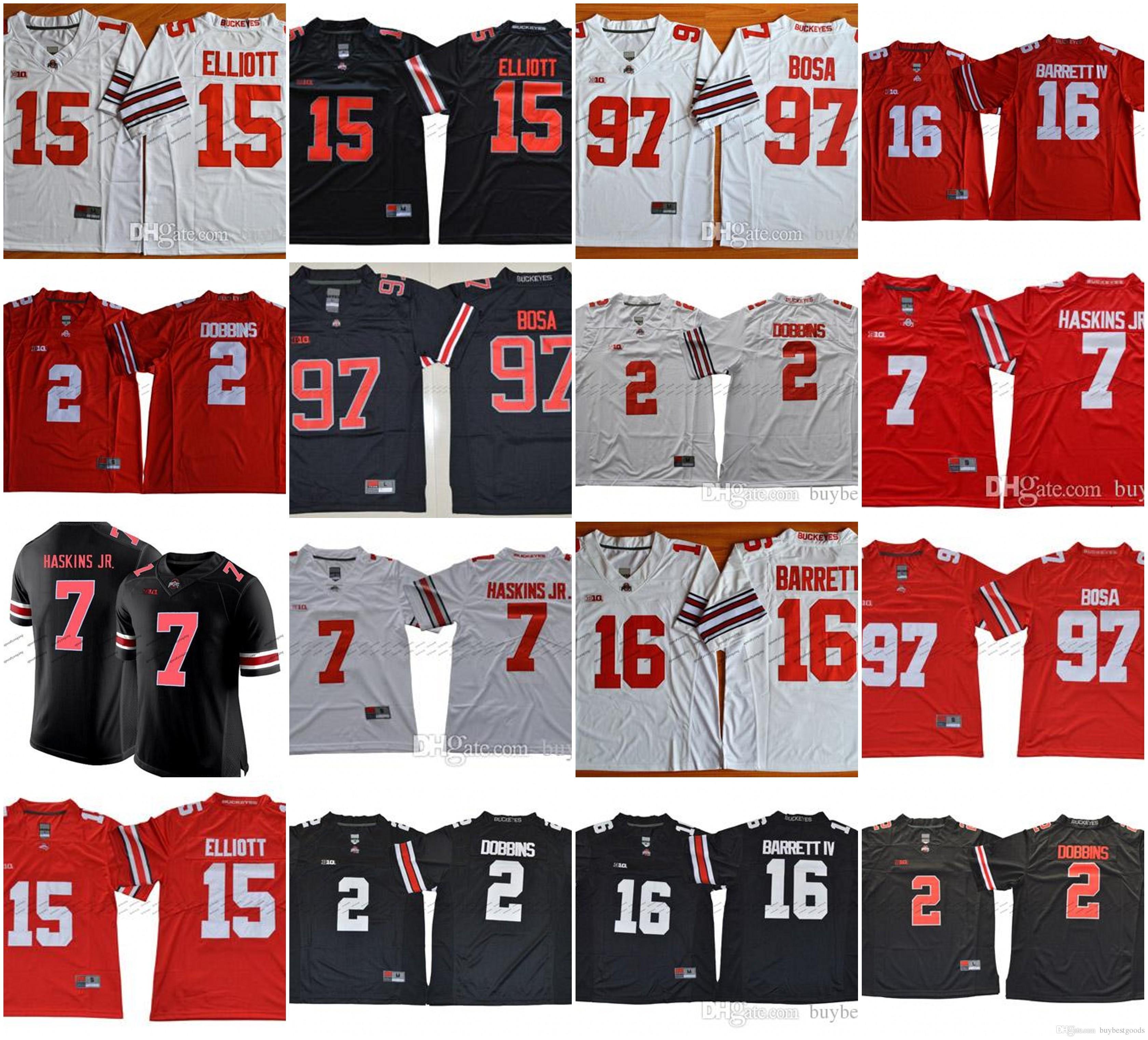 f229a25e2 Online Cheap 2018 NCAA Ohio State Buckeyes  7 Dwayne Haskins Jr.  2 JK  Dobbins  97 Nick Bosa 15 Ezekiel Elliott 16 JT Barrett IV College Football  Jerseys By ...