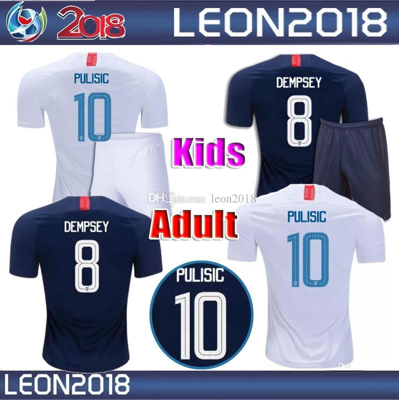 Compre Crianças Adultas 2018 2019 EUA PULISIC Camisa De Futebol 18 19  DEMPSEY BRADLEY ALTIDORE MADEIRA América Camisas De Futebol Juventude Estados  Unidos ... 60ec009a23209