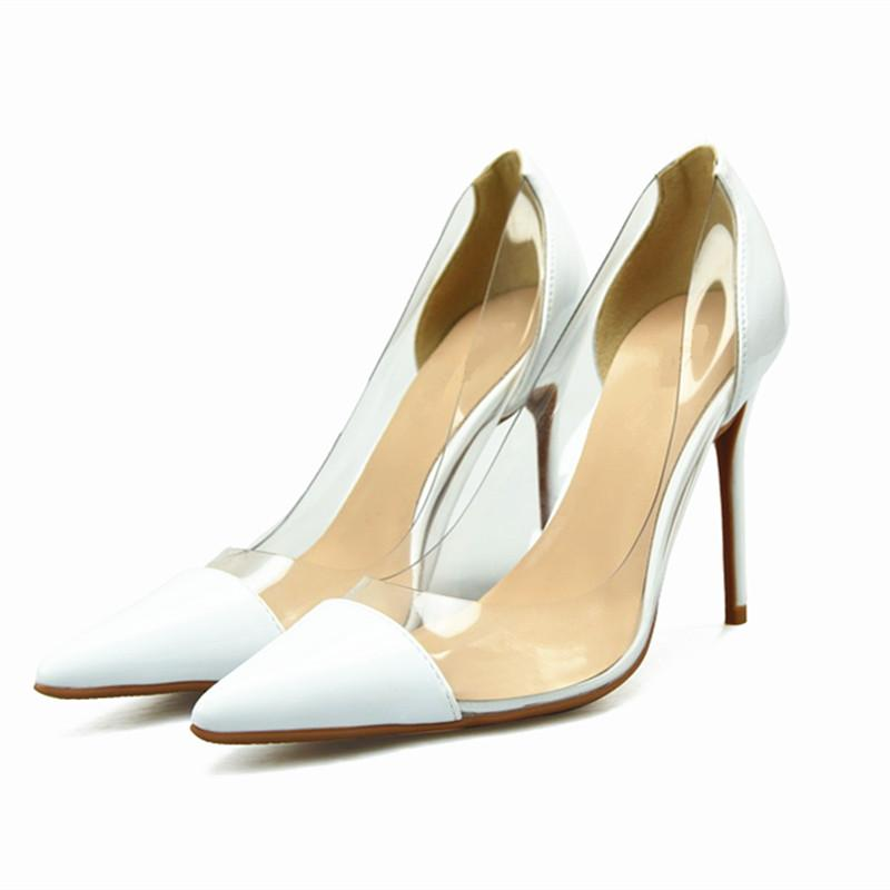 Compre Bomba Transparente Para Mujer 2018 6 8   10CM Stiletto Tacón Alto  Zapatos De Vestir De Boda De Cuero Genuino Punta Estrecha Slip On Bombas  Poco ... ae900bc67699