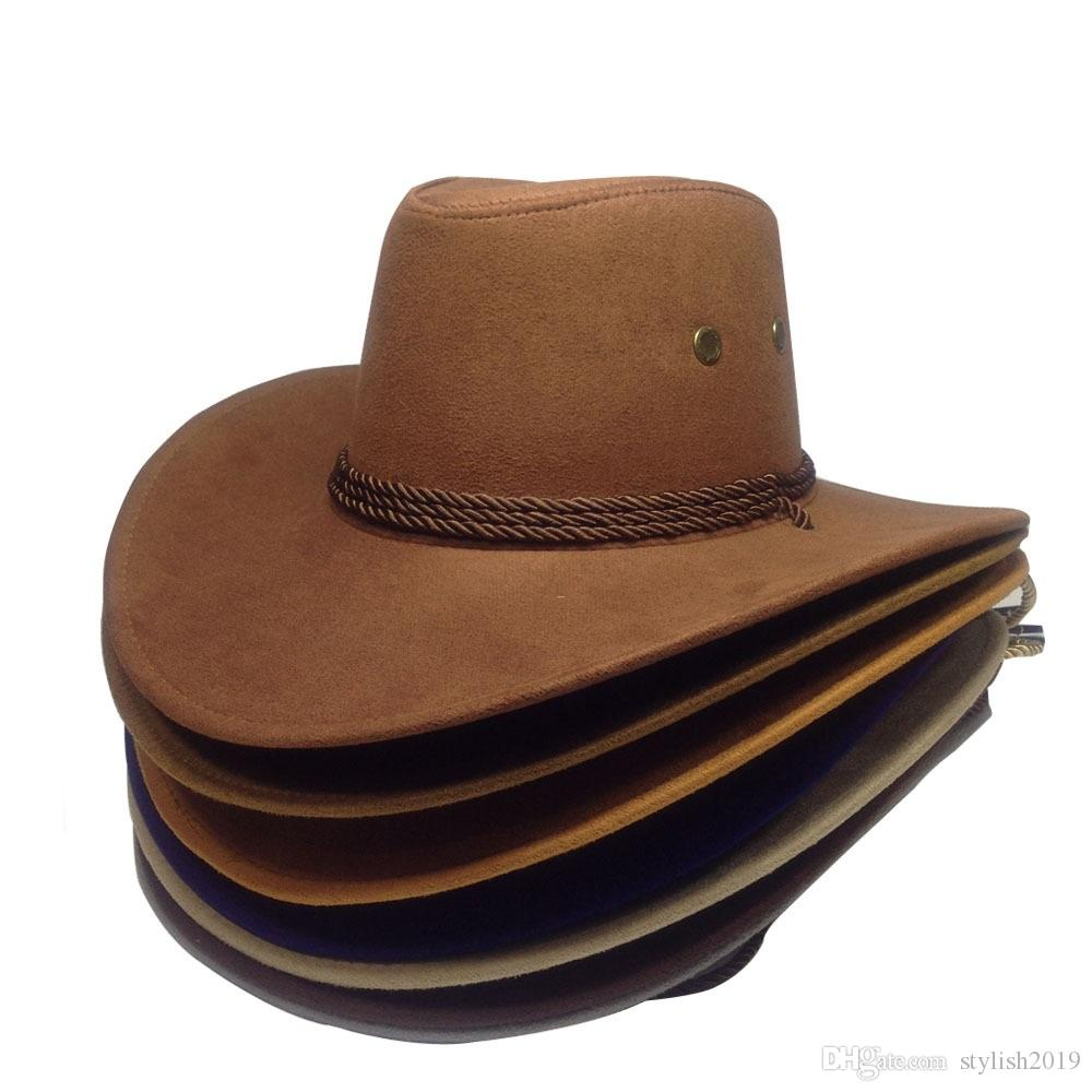 Hot new western cowboy hat suede outdoor visor men's riding hat imitation leather adult big hat WCW293