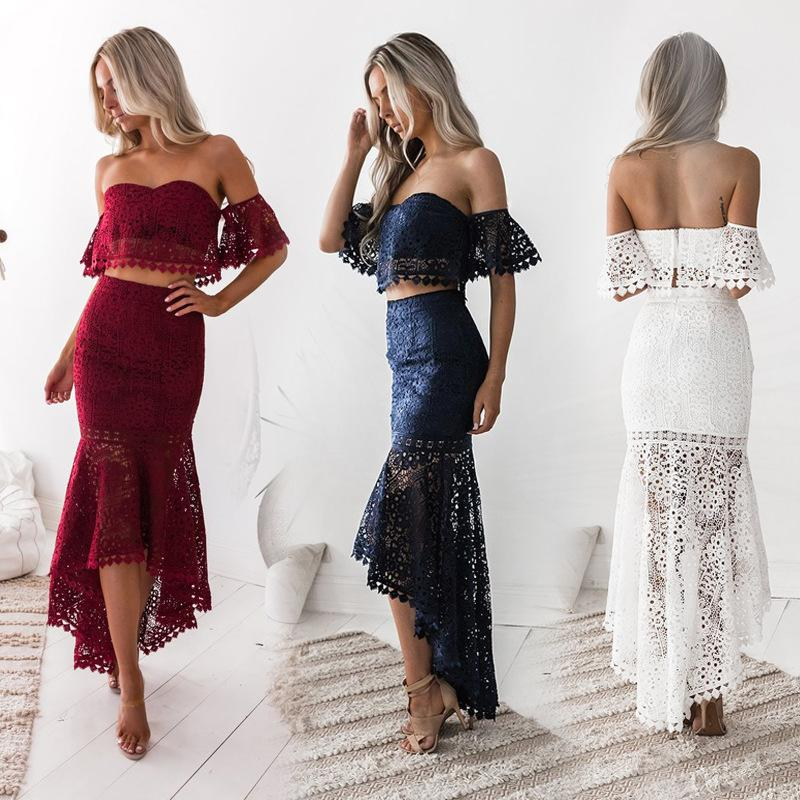 6717f06b757 2019 Sexy Women Party Suit Elegant Two Piece Sets Party Outfits White Lace  Bodycon Strapless Crop Top Pencil Skirt Vestidos De Fiesta Y19042901 From  Muyuxia ...