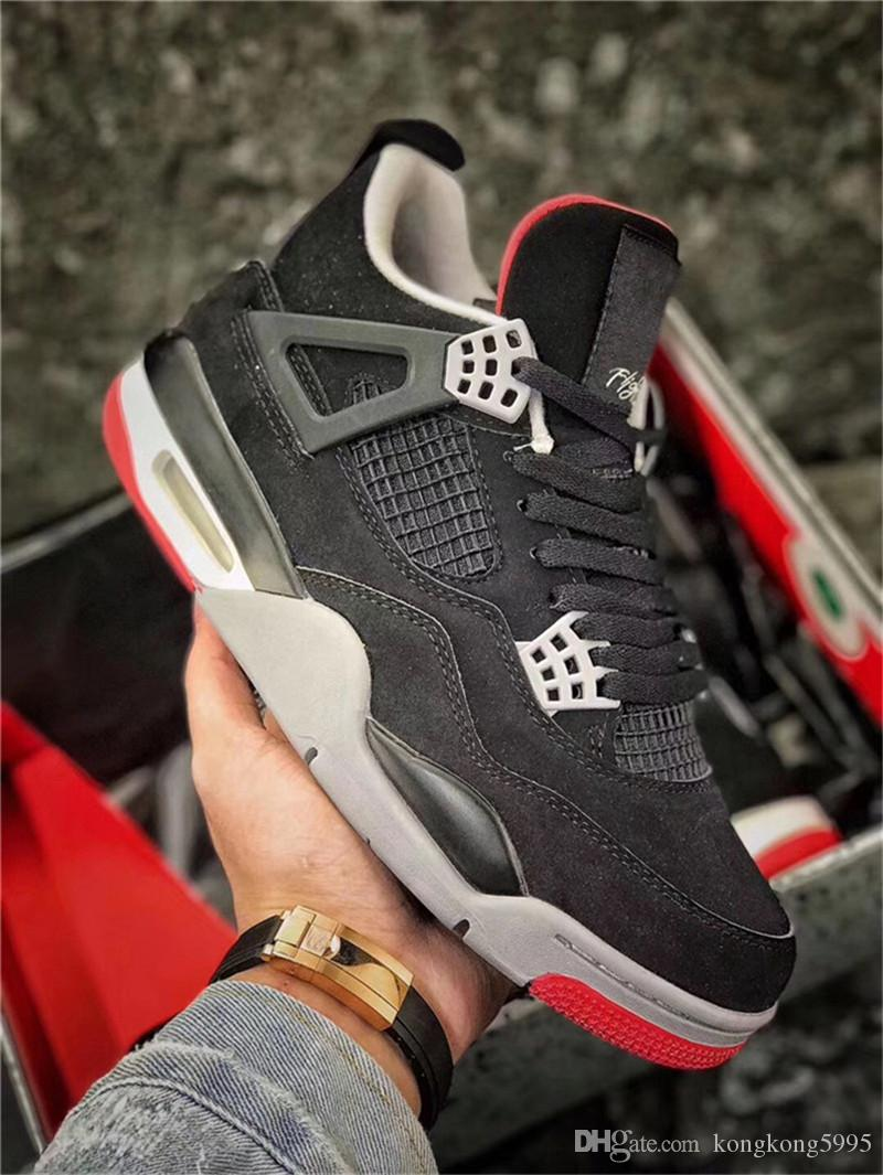 7ceea9f42b4204 2019 4 Bred OG Black Red Men Basketball Shoes 4S IV Authentic Quality  Sports Sneakers 308497 060 With Original Box Best Basketball Shoes Womens  Basketball ...