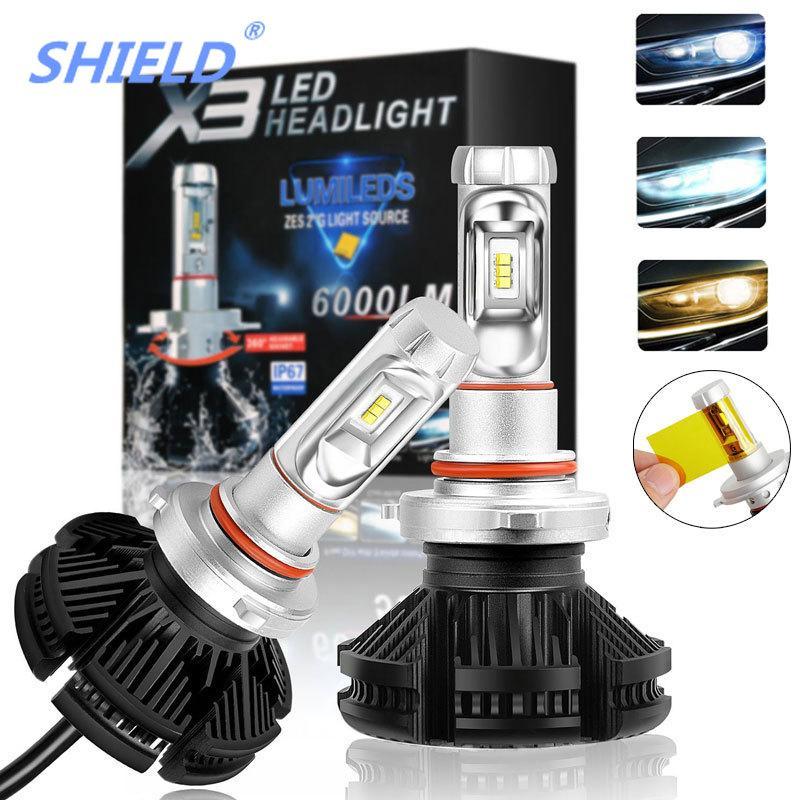 Car Headlight Bulbs(led) Hot Sale 2pcs Car Headlight 9005 9006 H4 H7 H11 Auto Car Headlight Bulbs 50w 6000lm Car Styling 6500k Led Ip68 Waterproof Headlamps