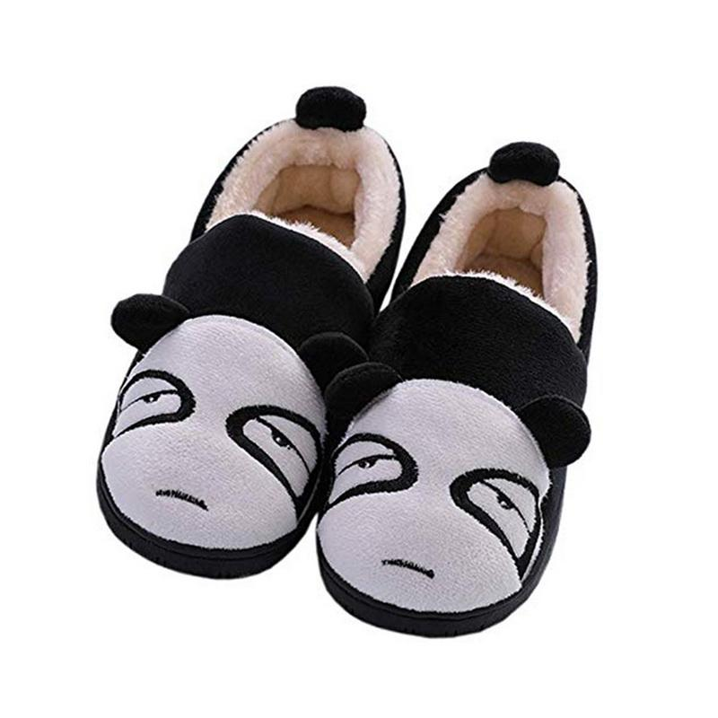 Mode Kinder Warme Hausschuhe Schöne Panda Feste Flache Indoor Schuhe Winter Plüsch Warme Lässige Hause Hausschuhe Für Jungen Mädchen