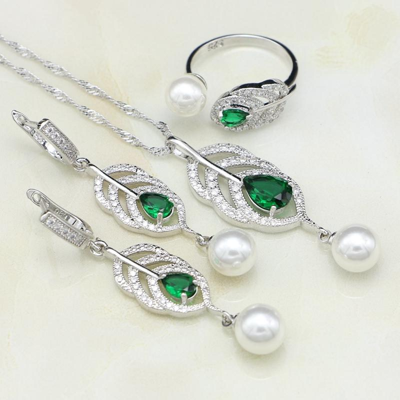 c26854b83 925 Sterling Silver Jewelry Sets Natural Green Cubic Zirconia White Pearl  For Women Drop Earrings/Ring/Pendant/Necklace Set Designer Jewelry Mens  Diamond ...