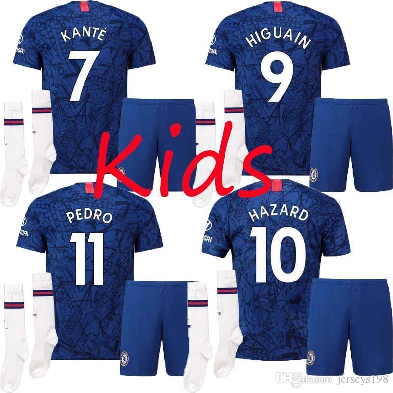 brand new d8b8e d4de7 new KIDS 1920 soccer Jersey JORGINHO KANTE MEN SET 19 20 Home blue 10  HAZARD HIGUAIN PEDRO Champions League kids kit DAVID LUIZ 2019 2020