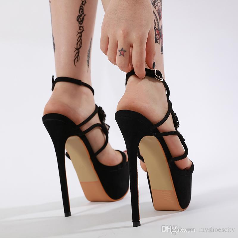 Luxury black big rhinestone platform ultra high heels women designer shoes sandals 16cm size 35 to 40
