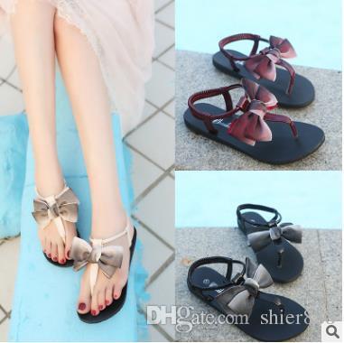 4d00ff916 Flip Flops Sandals Ladies Flat Slippers Herringbone Flat Bottom Rome Shoes  Bow Tie Toe Elastic Belt Women S Sandals Wholesale Ladies Footwear Fashion  Shoes ...