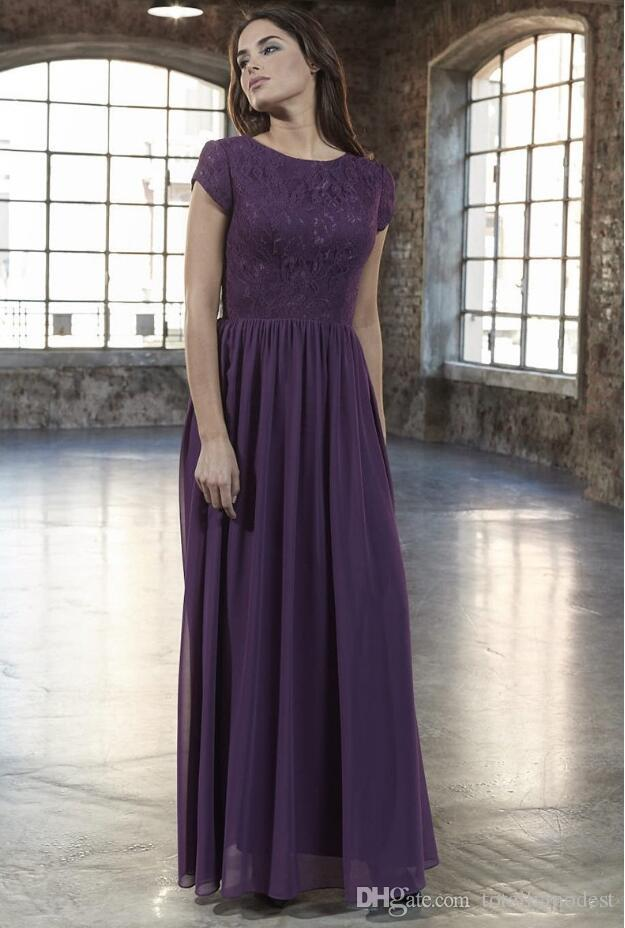 dc1710175a0 2019 New A Line Lace Chiffon Long Modest Bridesmaid Dresses With Cap  Sleeves Dark Purple Floor Length Summer Modest Maids Of Honor Dress Dark  Grey ...