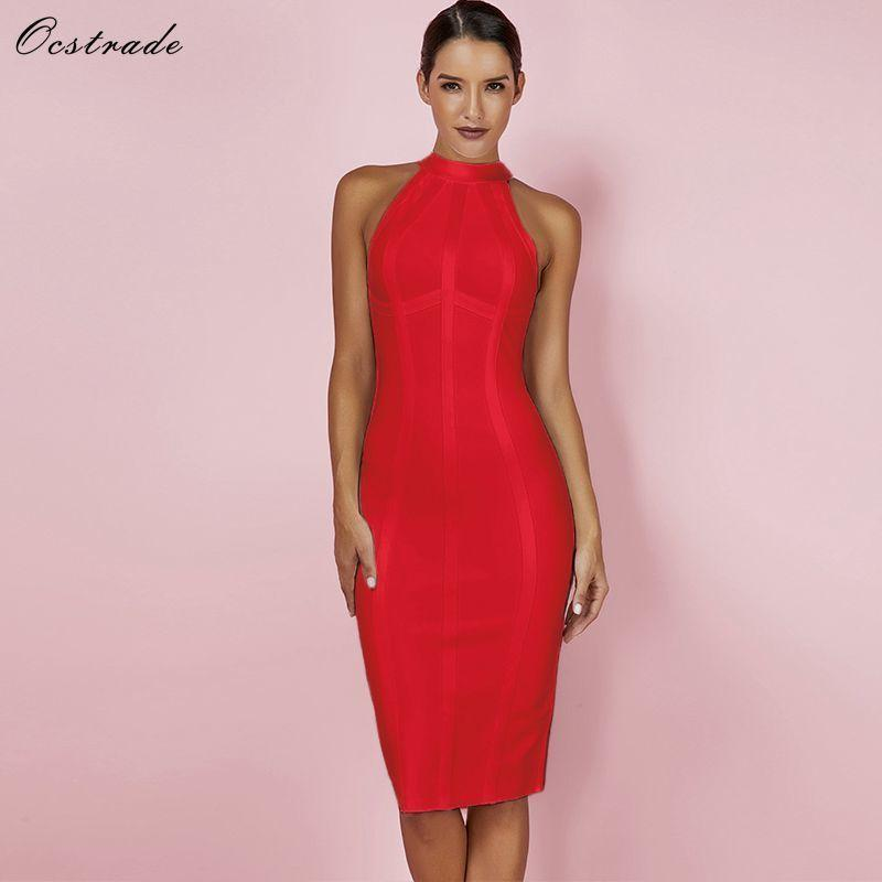 34881fac375c6 Ocstrade Red Christmas Bandage Dress Bodycon New Year Dresses For Women  2019 Sexy Striped High Quality Midi Bandage Dress Party Y190426