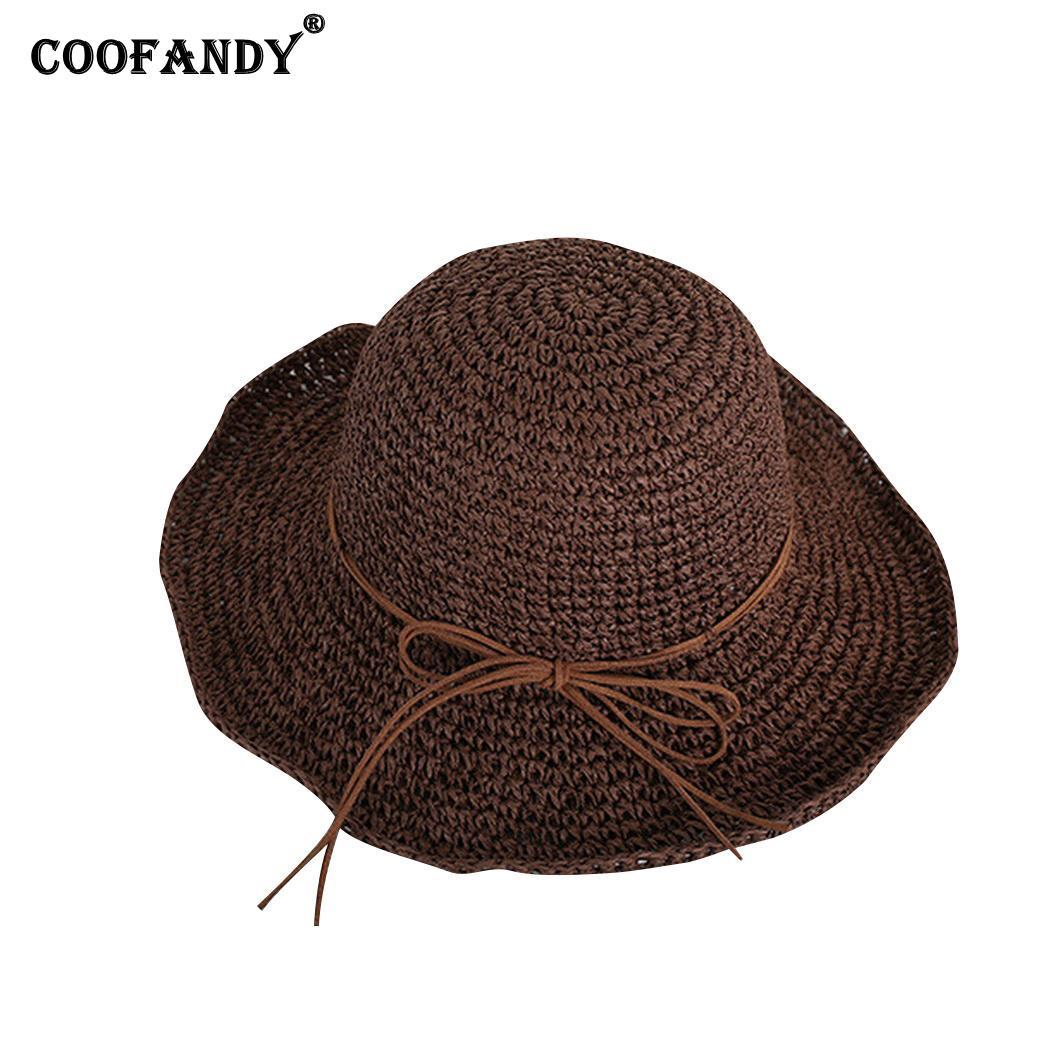 dda908bfaf13fb Women Big Brim Sun Hat Floppy Foldable Solid Bowknot Dome Straw Hat Summer  Casual, Street, Outdoor Beach Straw Cowboy Hats Sun Hats For Men From ...