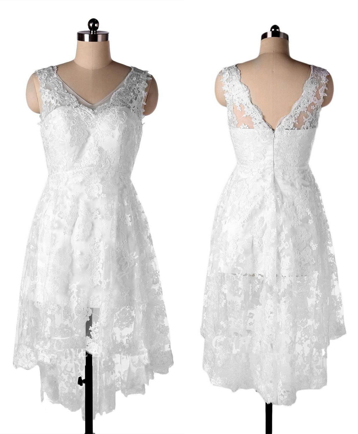 V Neck Simple Short High Low Wedding Dress With Appliques Lace Summer Beach Country Bridal Dress Gown