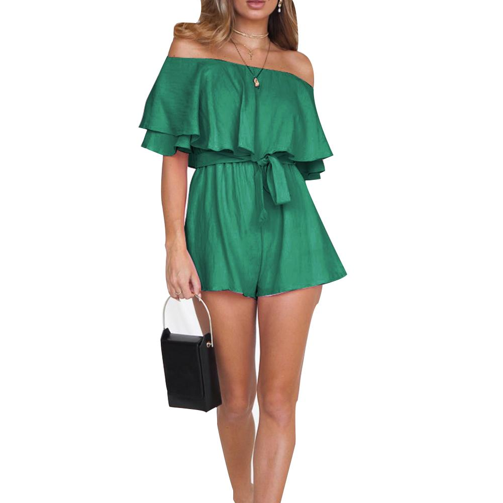 Women Summer Jumpsuit Solid Color Off Shoulder Short Sleeve Strappy Belted Shorts Jumpsuit for Summer Beach Vacation TS9
