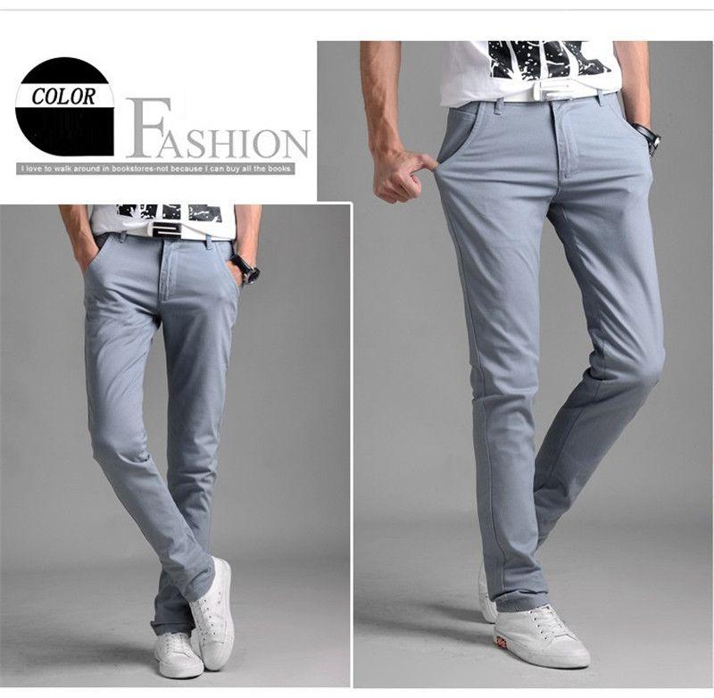 ccbedc5b91b 2019 Spring Men's Classic Pants Elastic Casual Mens Business Slim ...