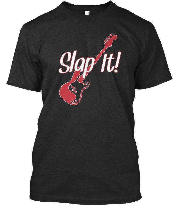 Unique Graphic Tees Office Music Bass Guitar - Slap It! It'S A Thing! O-Neck Short-Sleeve Mens Tee