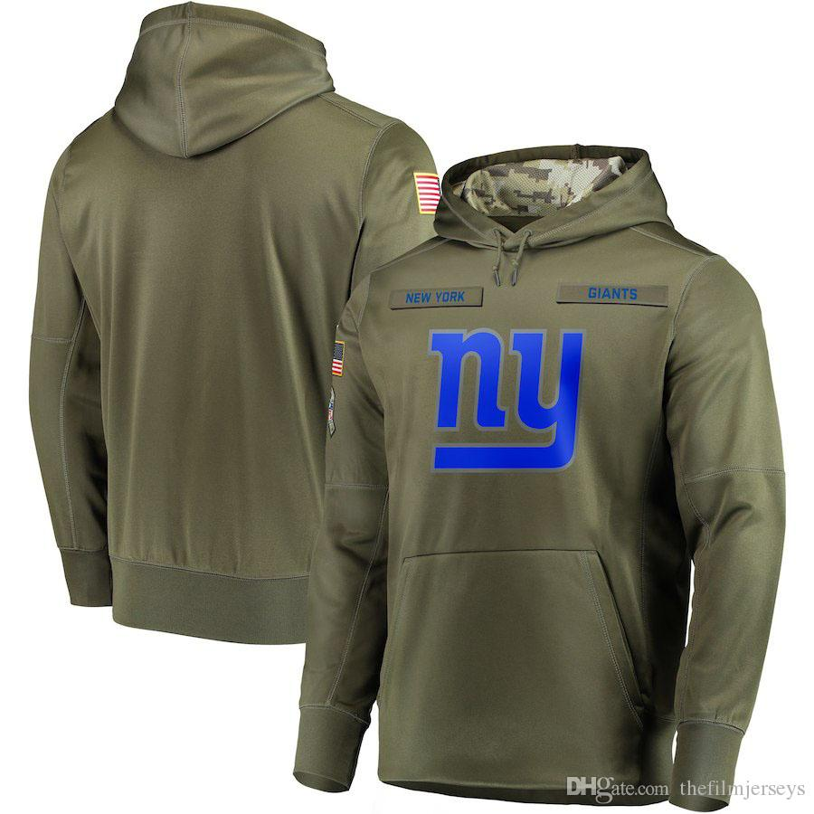 timeless design 6888c edaa4 2018 men New York Sweatshirt Giants Salute to Service Sideline Therma  Performance Pullover Hoodie Olive