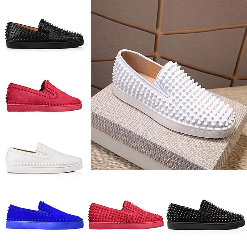 27339949135f Nuevo diseñador Moda para hombre Red Roller Bottom Barco Zapatos informales  Low Top Spikes Mocasines Gamuza de cuero 2019 para mujer Zapatillas de ...
