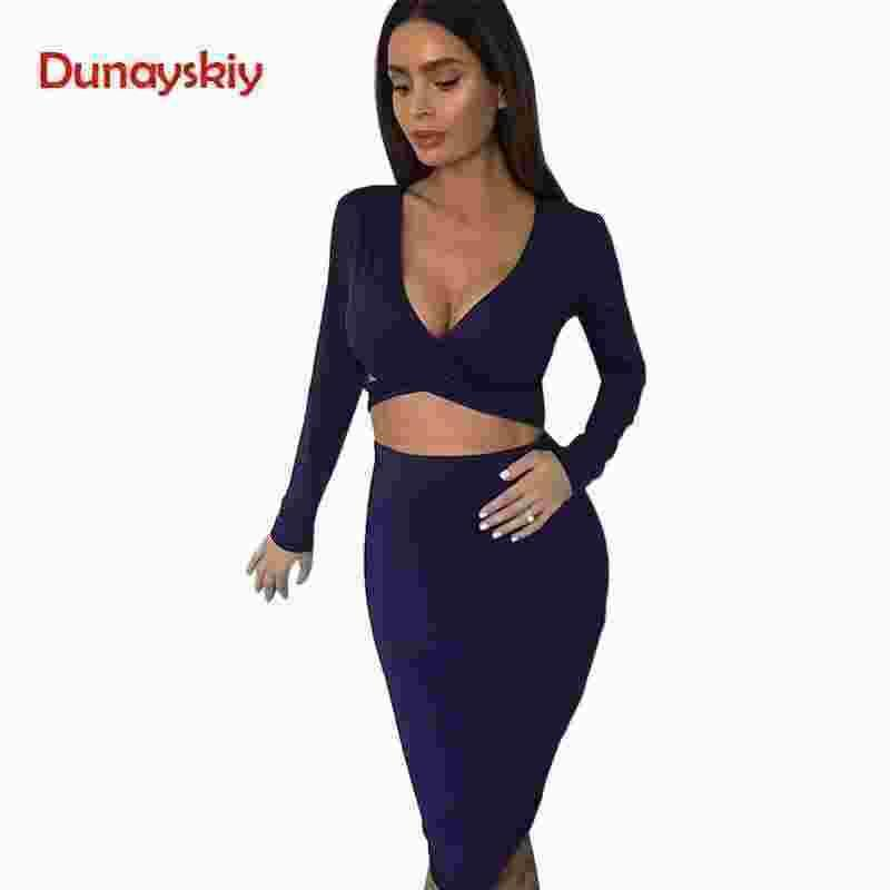 2019 Hot Sale Fashion Red Black White Long Sleeve Elastic Cotton Warm Party Dresses Sexy Midi Pencil Club Bodycon Bandage Dress
