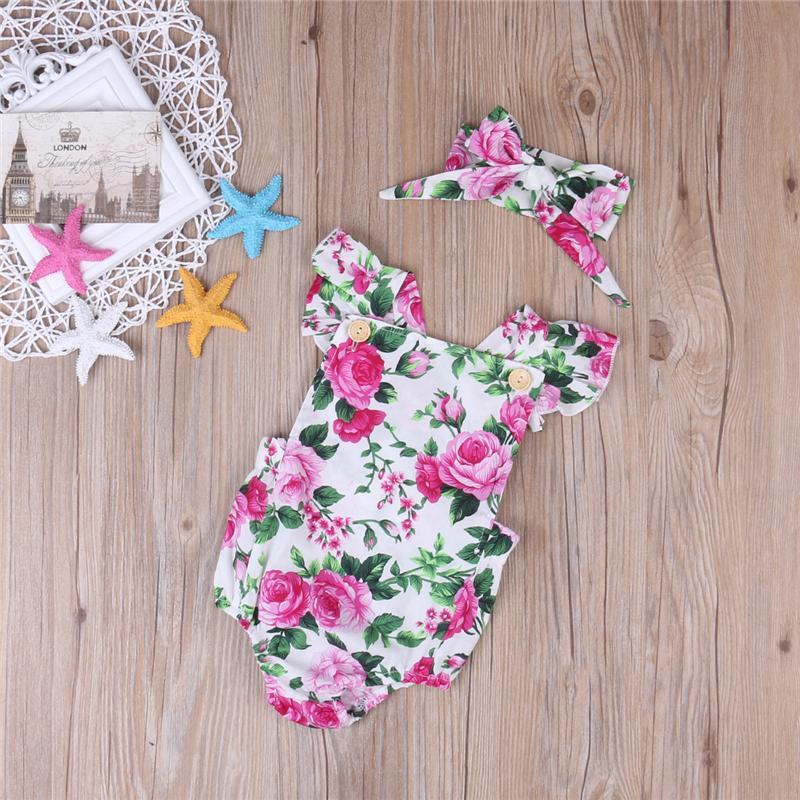 Цветочные Печатные Милые девушки лето Rompers рукавов Новорожденный Baby Girl Bodysuit Romper комбинезон Одежда Костюмы женский пляжный костюм