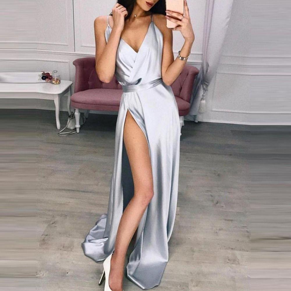 3dc58472 LNCDIS 2019 Summer Women Satin Slip V Neck Dress Spaghetti Strap Sexy Backless  Maxi Dress Gold Silk High Split Long Black Dress Cocktail Dress From  Camelane ...