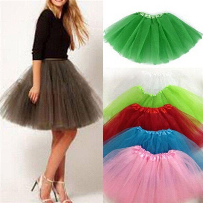 ab7db0bad2 2019 3 Layer Pretty Elastic Stretchy Tulle Teen Adult Tutu Skirt ...
