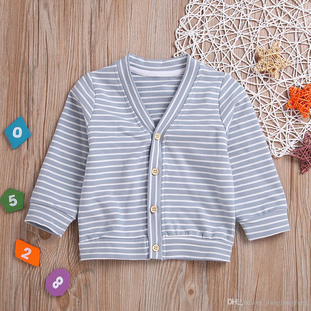 2020 Toddler Baby Kids Girls Boys Warm Striped Coat V Neck Long Sleeve Jacket Outwear Clothes