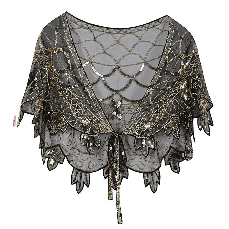 a39bbcac07 Vintage 1920s Flapper Shawl Sequin Beaded Short Cape Beaded Decoration  Gatsby Party Mesh Short Cover Up Dress Accessory Bandana Uk Bandana Store  From ...