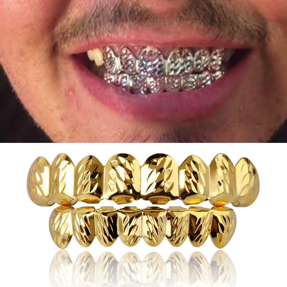 18K Gold Hip Hop Vampire Hammered Teeth Fang Grillz Dental Mouth Grills Braces Tooth Cap Rapper Jewelry for Cosplay Party Wholesale