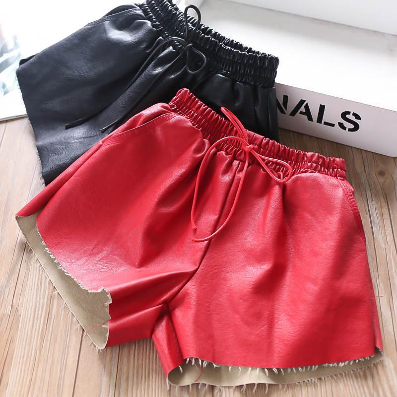 2color Pu leather girls shorts fashion kids shorts kids designer clothes girls pants kid clothes kids boutique clothing fall A8052