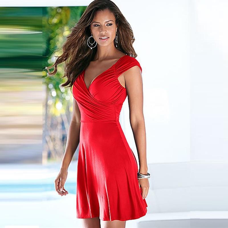 b25ce390c0 Compre Senhoras Quentes Nova Chegada Sem Mangas Com Decote Em V Escritório  Vestidos De Verão Das Mulheres Ocasionais A Line Bonito Vestido Plus Size  Sexy ...