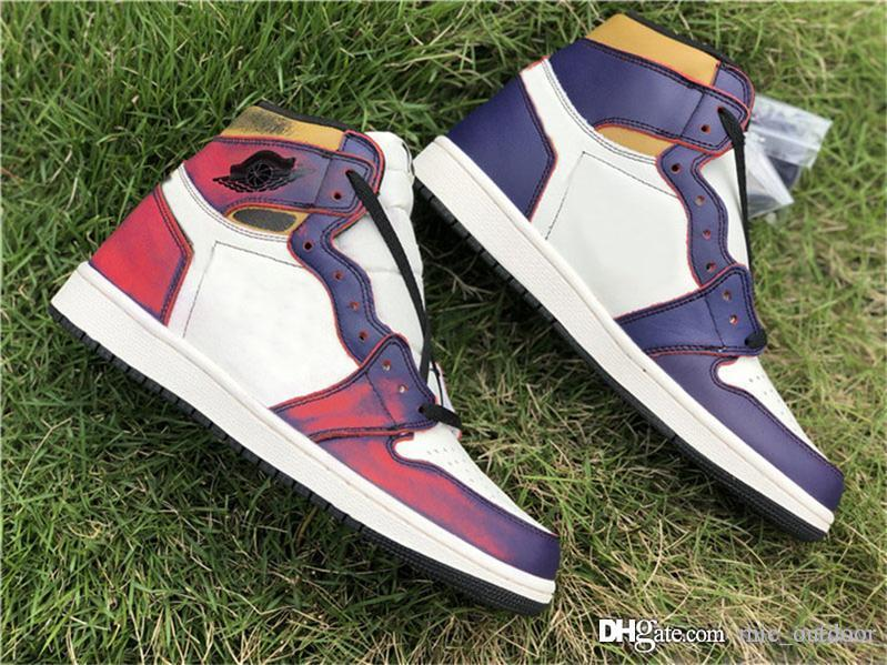 478fcec7fa 2019 Hottest SB x 1 High OG Court Purple Gold Defiant Lakers 1S Men  Basketball Shoes Authentic Sports Sneakers CD6578-507 Limited