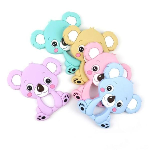 Koala do bebê Silicone Teether Baby Candy cores Grinding Rod 3D Koala Impresso Crianças Silicone Teethers Kid Toy WY240Q