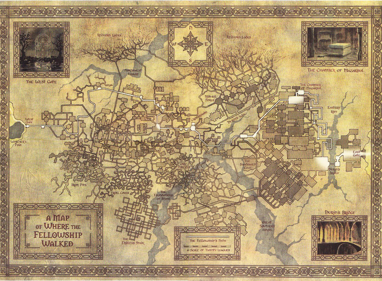 Map of Middle Earth from Lord of the Rings Art Silk Print Poster  24x36inch(60x90cm) 018