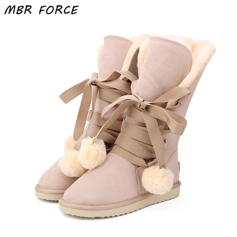 MBR FORCE High Quality Snow Boots women's winter Boot Women Fashion Genuine Leather Australia Classic Women High Boot Winter