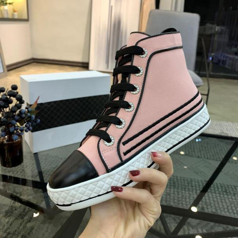 France famous design High top womens Flats Genuine Leather Lace Up Casual Shoes Trend Luxury Platforms Denim Breathable women shoes-8