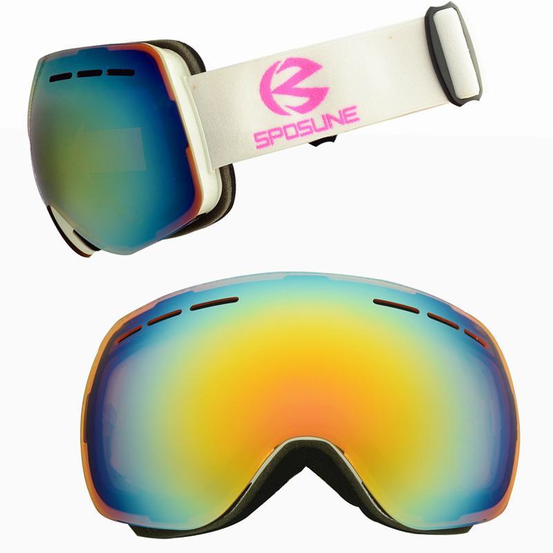 f0824e60147 Double Layers Lens Ski Goggles Anti-fog Skiing Glasses Windproof ...