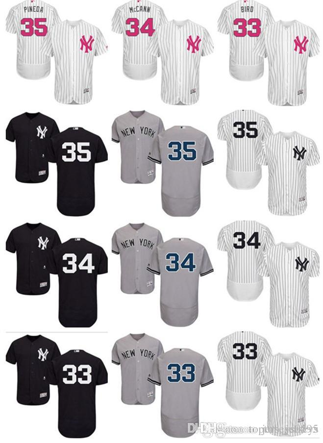 custom NY New York Men's women youth Majestic Yankees Jersey #33 Greg Bird 34 Brian McCann 35 Michael Pineda home blue kids Baseball Je